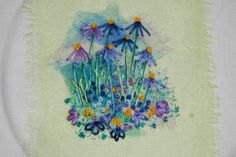 Crewel Embroidery Ideas An idea from Rowandean. The embroidery was just straight stitch, French knots, a few lazy daisies and feather stitch, nothing complicated but with all the organza underneath it was very effective. French Knot Embroidery, Embroidery Cards, Crewel Embroidery Kits, Embroidery Stitches Tutorial, Embroidery Techniques, Embroidery Patterns, Flower Embroidery, Primitive Embroidery, Embroidery Alphabet