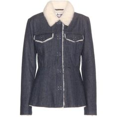 Acne Studios Lugan Shearling-Lined Denim Jacket ($685) ❤ liked on Polyvore featuring outerwear, jackets, blue, acne studios jacket, acne studios, jean jacket, blue jean jacket and shearling lined jacket