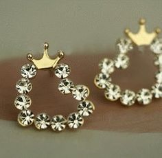 Crowned Shiny Hearts Fashion Earrings | LilyFair Jewelry