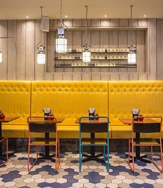 Restaurant interior design. Handmade tiles can be colour coordinated and customized re. shape, texture, pattern, etc. by ceramic design studios