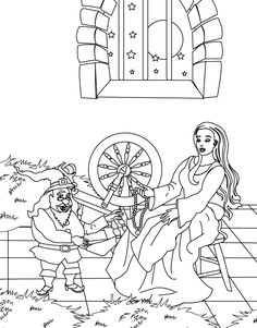 Coloring page of Rumpelstiltskin spinning straw into gold
