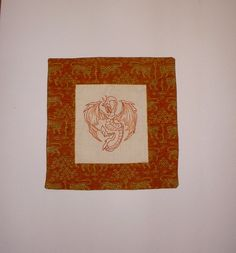 Dragon Pillow Cover  Hand Embroidery  Royal Lion by KarenHeenan, $40.00
