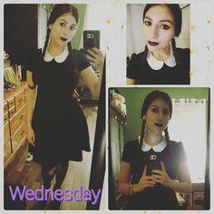 Wednesday Adams. Dress Hot Topic. Boots Nordstrom Rack. Makeup Target. Tights Macy's. Garter Belt Victoria Secret.