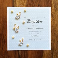 12 Invitation Baptism Invitation First Communion by qartcards Baptism Invitations, Invitation Wording, Quilling Art, Quilling Ideas, Words In Other Languages, Paper Strips, First Communion, Christening, Rsvp