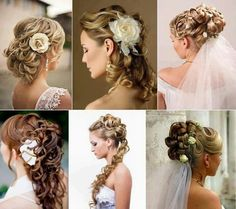 Hair styles several different looks for the bride