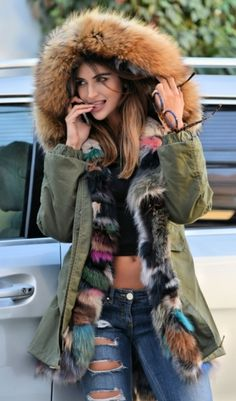 TOP TRENDY AMERICAN ARMY PARKA WITH FOX FUR - COAT