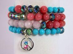 "Peace Bracelet Stack, Yoga Stack, Yoga Bracelet, Gemstone Bracelet: Rose Quartz, Jade & Chalk Turquoise, Color Inspired ""Make Art Not War"" on Etsy, $85.00"
