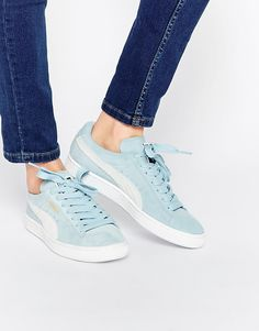 Image 1 of Puma Pale Blue Suede Basket Sneakers