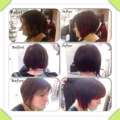 Medium brown with caramel slices to a deep brown with raunchy red slices, hair by stylist jasmine
