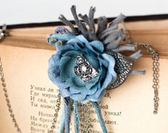 Gray flower brooch flower pin Boho hair accessories by ArsiArt, $28.00