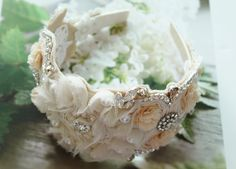 Grace Kelly inspired Juliet cap headband (Miss E's Wedding Headpiece) - Silver. $300.00, via Etsy.