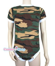 Cuddlz Green Camouflage fleece onesie for adults ABDL clothing adult baby  diaper lovers Romper Sleepsuit 04ed9ade1