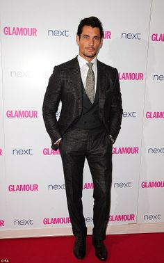 Suave: Model David Gandy looked handsome in his three-piece suit...