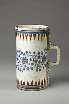 Ceramic mug - vessel - tankard Made of cobalt, red painted and glazed ceramic, pottery School/style: Iznik Culture/period: Ottoman dynasty Date: British centure! Ceramic Cups, Glazed Ceramic, Ceramic Pottery, Ceramic Art, Earthenware, Stoneware, Keramik Design, Red Paint, British Museum