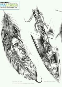 Indian tattoo designs, I want this as a half sleeve feather on the outside spear on the inside. Indian Style Tattoos, Indian Feather Tattoos, Indian Tattoo Design, Indian Feathers, Arrow Tattoo Design, Tattoo Feather, Indian Arrow Tattoo, Dreamcatcher Tattoos, Wolf Tattoos