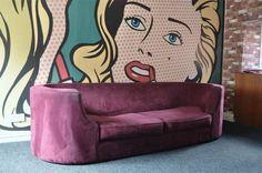 Vintage Retro suede art deco Heals Waldorf sofa 80s settee tub egg sofa chair