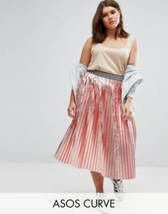 ASOS CURVE Pleated Skirt in Metallic with Sports Waistband