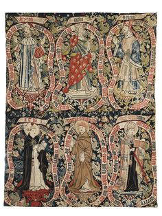 rare Medieval allegorical wool and metal-thread tapestry, Swiss /North Rhine circa 1480 - 1500 comprised of two joined horizontal panels wi. Medieval Life, Medieval Art, Medieval Clothing, Tapestry Weaving, Wall Tapestry, Les Gobelins, Medieval Embroidery, Medieval Tapestry, Textiles