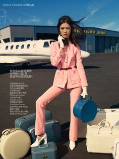 """Up in the Air"" Tian Yi for Vogue China January 2015 - Louis Vuitton Resort 2015"