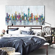 1 Panel Unframed Abstract Colorful New York City Skyline Modern Wall Canvas Art