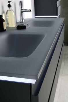 meuble halo, Sanijura, Plan vasque en verre gris givré