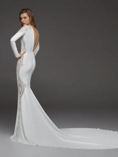 Long Sleeves Crepe Beaded Detailing Sheath Wedding Dress by Pronovias - Image 2 zoomed in Western Wedding Dresses, Wedding Dress Trends, Sexy Wedding Dresses, Wedding Gowns, Bridal Skirts, Bridal Gowns, Bridal Fashion Week, The Dress, Bridal Collection