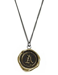 bronze initial A necklace   by Pyrrha