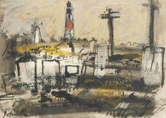 """Lighthouse, Portland Bill"" by John Piper (mixed media)"