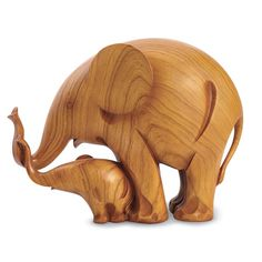 "Mother and Baby Elephant Sculpture in Cast Resin with Wood-Grain Finish 12"" Long"