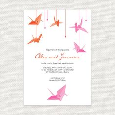 paper crane printable wedding invitation origami bird wedding invite asian happiness Japanese Chinese pink orange bridal shower customised