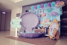stage an area with theme items-KarasPartyIdeas.com #mermaidparty #piratepa...