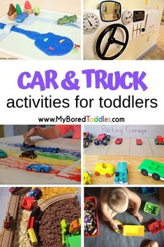 Car and Truck Activities for Toddlers - fun and easy toddler activities to do at home using cars and trucks - car themed activities for toddlers - truck themed activities for toddlers - great one year old activities , two year old activities, three year o Two Years Old Activities, Art Therapy Activities, Toddler Learning Activities, Indoor Activities, Toddler Preschool, Preschool Activities, Toddler Crafts, Family Activities, Play Therapy
