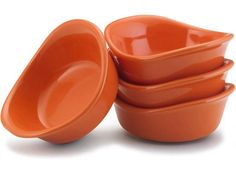Rachael Ray Stoneware Set of 4 Lil' Saucy Dipping Cups: Orange