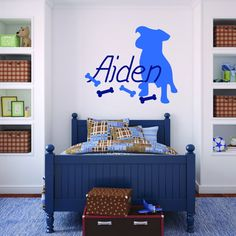 Puppy Silhouette Custom Name Decal with Bones - Removable Vinyl Decal - Great for Nursery or Girl's Bedroom