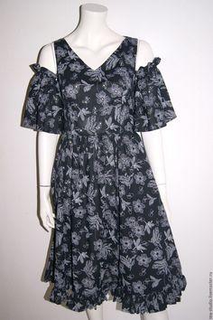 Купить Платье модель 71628 - тёмно-синий, рисунок, платье, платье летнее, платье шелковое