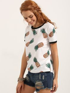 Shop Short Sleeve Fruit Print T-shirt online. SheIn offers Short Sleeve Fruit Print T-shirt & more to fit your fashionable needs.