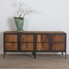 Hyderabad Reclaimed Wood and Metal Buffet (India) | Overstock.com