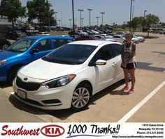 #HappyAnniversary to Kaci Luburich on your 2014 #Kia #Forte from Jacy Jackson at Southwest Kia Mesquite!