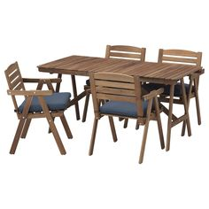 FALHOLMEN Table and 4 armchairs, outdoor - light brown stained, Frösön/Duvholmen blue - IKEA 278$