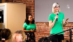 """""""We wanted to host a fun office event, and also give our employees an opportunity to do some public speaking in a really safe, supportive environment. They had so much fun. It was such a great event!"""" said CTO Heather Rivers, who leads engineering, product, design, and security at Mode. Hiring and recruiting talent is one of her priorities as an engineering leader in the San Francisco Bay Area, and she attributes Girl Geek Dinner as influential to multiple engineering hires! Employee Morale, Employer Branding, Fun Events, Geek Girls, Public Speaking, A Decade, Our Girl, Priorities, Bay Area"""
