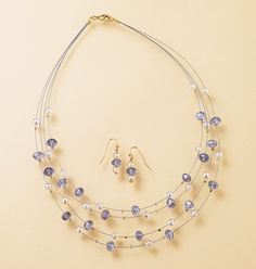 "Avon: Beaded Illusion Necklace and Earring Gift Set - Beads with goldtone accents ""floating"" on illusion wire necklace, 16 1/2"" L with 3"" extender. Pierced earrings, 1"" L. Regularly $14.99, buy Avon jewelry gift sets online at http://eseagren.avonrepresentative.com"