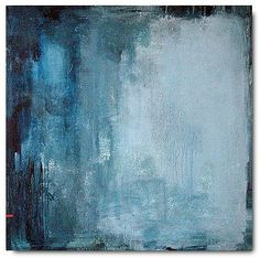 Abstract painting original modern blue minimalist color field large canvas art 36x36 / Made to Order / ELSTON