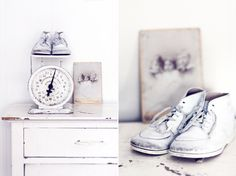 Vintage scale & baby shoes #nursery #vintage