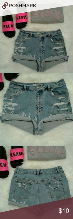 """🔴Get the Look🔴Vtg High Waist Distress Shorts 🔴Get the Look🔴 Excellent rebuild condition  Shorts have been cut, Frayed & Distressed 5 pockets-zip up fly-button closure 98% cotton-2% spandex Waist: 14.5"""" (relaxed flat) Length: 11"""" (folded) 12.5"""" (frayed) Front rise: 11"""" Wear 2 Different Ways Folded or FRAYED for 2 Looks Jones New York Shorts Jean Shorts"""