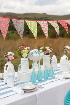Outdoor Bridal shower ideas...Love the FLAGS