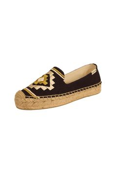 b90ded6f6 Yellow and beige accents make this navy flat espadrille perfect for boat