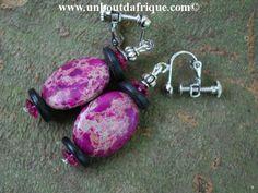 Boucles d'oreille clips Sea Sediment, bois et cristal Swarovski