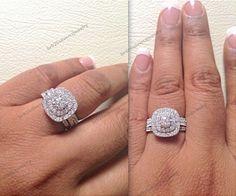 10K White Gold 2.1/1 CT Diamond Frame Engagement Ring Round Band Bridal Ring Set #br925silverczjewelry #WeddingEngagementAnniversaryBirthdayGift