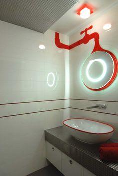 Dom w Krakowie — MG Interior Studio Bathroom Lighting, Neon Signs, Mirror, Studio, Interiors, Furniture, Design, Home Decor, Bathroom Light Fittings