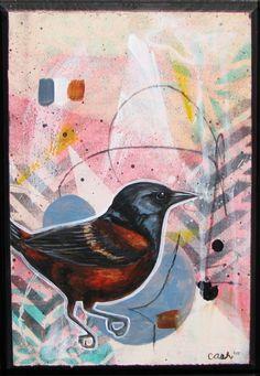 """Orchard Oriole"" Buy original art by Curtis Ashby on Ziibra at https://www.ziibra.com/curtis-ashby/"
